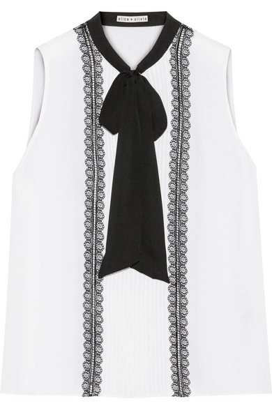 Alice Olivia - Spencer Pussy-bow Pintucked Chiffon Top - White
