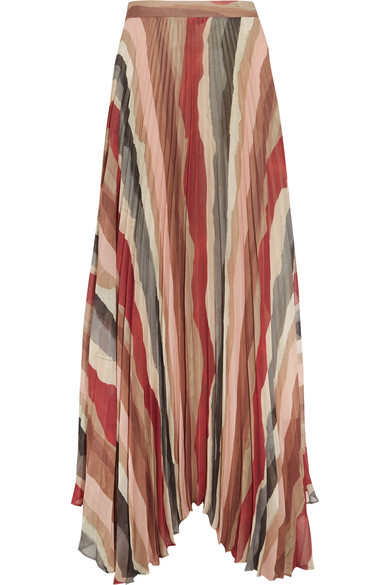 f0b9fd5f54 Alice + Olivia. Shannon asymmetric pleated printed georgette maxi skirt