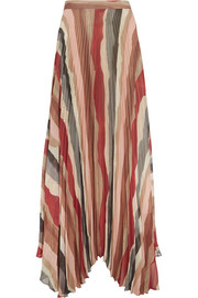 Alice + Olivia Shannon asymmetric pleated printed georgette maxi skirt