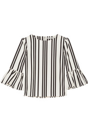 Bernice ruffle-trimmed striped cotton top