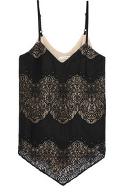 Alice + Olivia Emmeline crepe and crocheted lace camisole