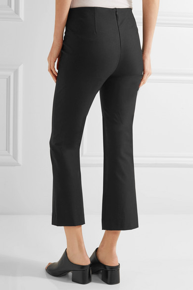 Theory Erstina Cropped Stretch Cotton Blend Flared Pants