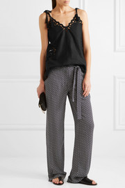 Theory Brilda printed silk crepe de chine wide-leg pants