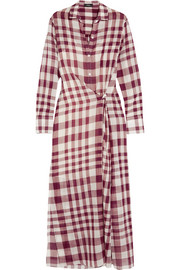 Jinniefield wrap-effect plaid cotton shirt dress