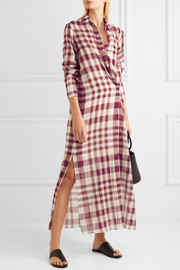 Theory Jinniefield wrap-effect plaid cotton shirt dress