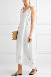 Theory Taytee broderie anglaise linen and cotton-blend dress