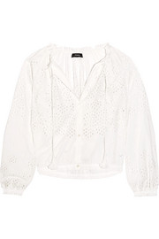 Theory Maryana broderie anglaise cotton blouse