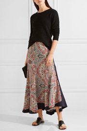 Theory Bitrah Premont asymmetric printed silk crepe de chine skirt