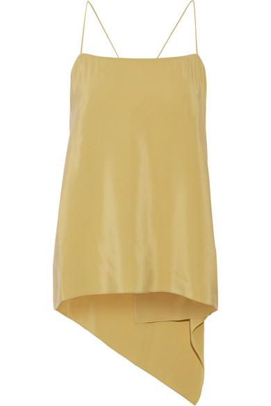 Vanissa asymmetric draped washed-silk camisole