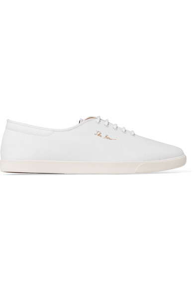 Dean Embroidered Canvas Sneakers - White The Row WmeN2zm