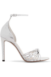 Parker snake-effect mirrored-leather sandals