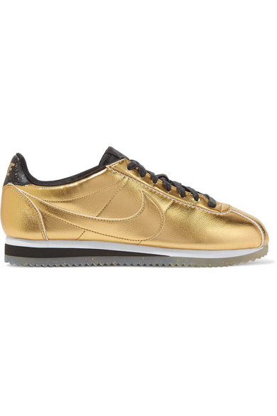 Nike - Classic Cortez Metallic Leather Sneakers - Gold