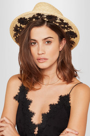 Micha lace-trimmed straw Panama hat