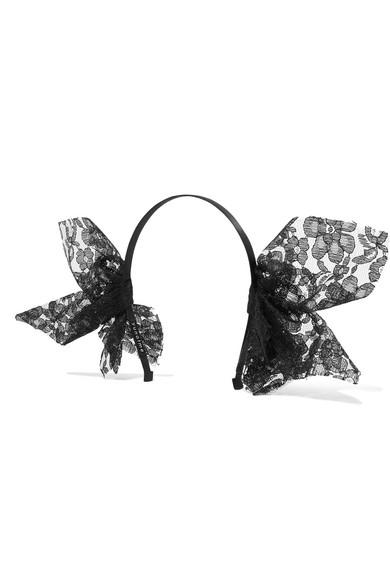 Yunotme - Echo Lace-trimmed Grosgrain Headband - Black