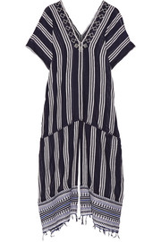 Edna embroidered striped cotton-blend gauze kaftan