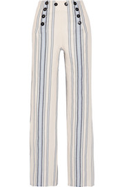 Halima striped cotton and linen-blend wide-leg pants