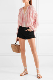 L'Agence Zoe frayed denim shorts