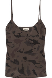 Jane camouflage-print washed-silk camisole