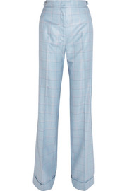 Shipton checked silk and wool-blend flared pants