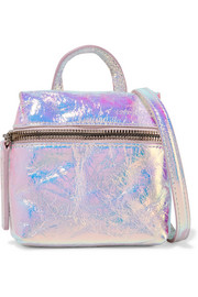 Satchel micro holographic crinkled-leather shoulder bag