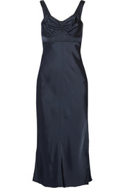 Helmut Lang Lace-trimmed satin midi dress