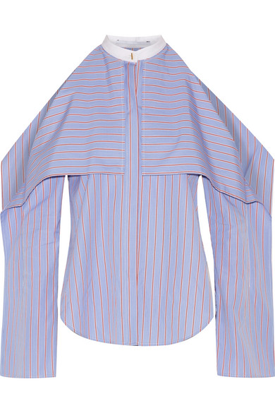 ROSETTA GETTY Cold-Shoulder Striped Cotton-Poplin Blouse at NET-A-PORTER