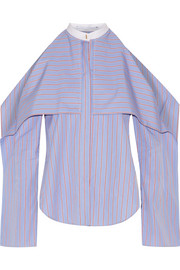 Cold-shoulder striped cotton-poplin blouse