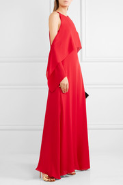 Cold-shoulder draped silk-georgette gown