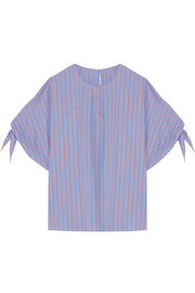 Striped cotton-poplin top