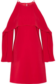 Layered cutout stretch-cady dress