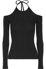 Cutout cotton-jersey halterneck top