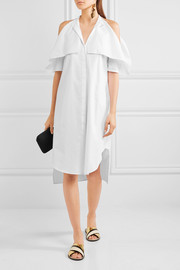 Cold-shoulder cotton-poplin dress