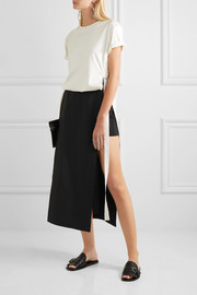 Paneled cotton-blend faille shorts