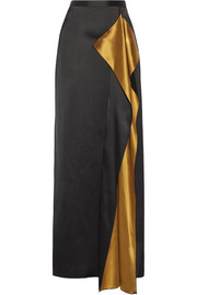 Draped satin maxi skirt