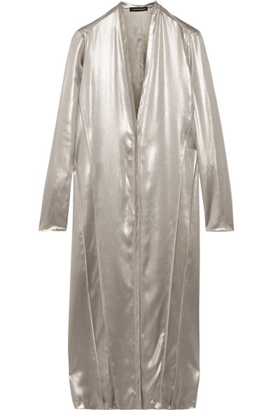Narciso Rodriguez - Metallic Silk-satin Dress - Silver