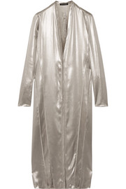Metallic silk-satin dress