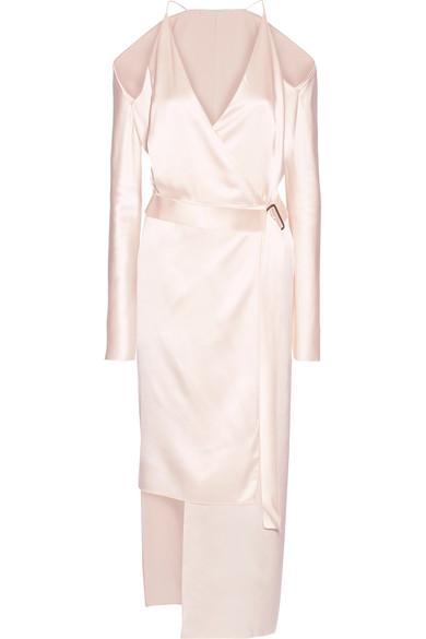 Dion Lee - Asymmetric Cold-shoulder Silk-satin Wrap Dress - Pastel pink