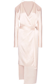 Asymmetric cold-shoulder silk-satin wrap dress