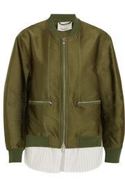 3.1 Phillip Lim Satin and striped poplin bomber jacket