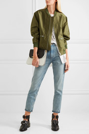 Satin and striped poplin bomber jacket