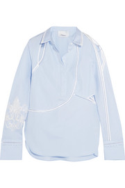 3.1 Phillip Lim Embroidered cutout cotton-poplin shirt