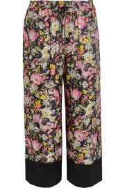Meadow Flower cropped printed silk-twill wide-leg pants