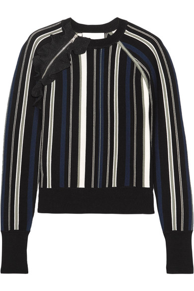 3.1 Phillip Lim - Ruffle-trimmed Striped Stretch Cotton-blend Sweater - Black