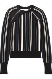 Ruffle-trimmed striped stretch cotton-blend sweater