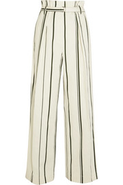 Striped cotton and linen-blend wide-leg pants