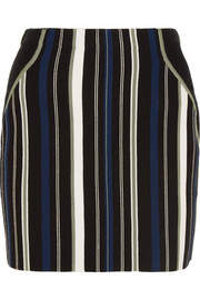 Striped stretch cotton-blend mini skirt