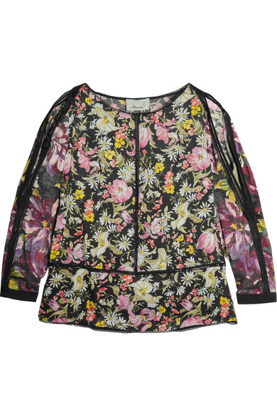 a0ed3f0acc2cc1 3.1 Phillip Lim. Meadow Flower cold-shoulder printed silk-satin blouse
