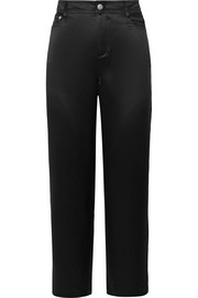Cropped silk-charmeuse straight-leg pants