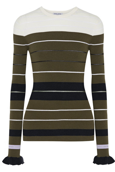 Opening Ceremony - Striped Ribbed Stretch-knit Sweater - Army green