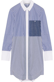 Jay striped cotton-poplin mini shirt dress